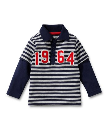 Navy & Gray Stripe Layered Polo - Infant & Toddler