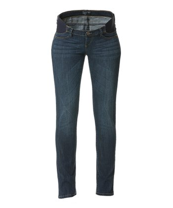 Medium Blue Jade Under-Belly Maternity Skinny Jeans