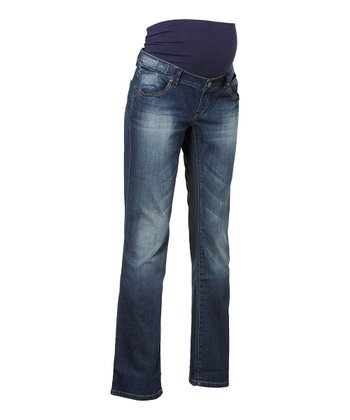Stone Wash Over-Belly Kimberly Maternity Flare Jeans