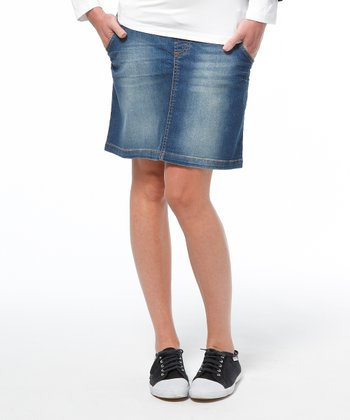 Stone Wash Helsinki Maternity Denim Skirt