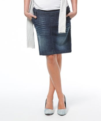 Stone Wash Washington Maternity Denim Skirt