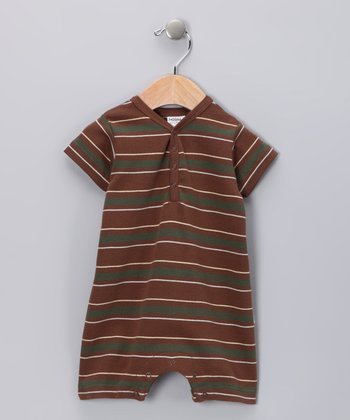 Brown Stripe Organic Romper - Infant