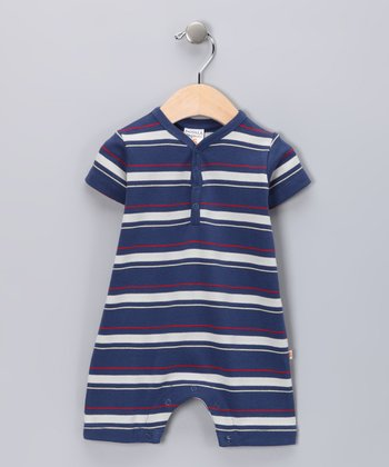 Navy Stripe Organic Romper - Infant