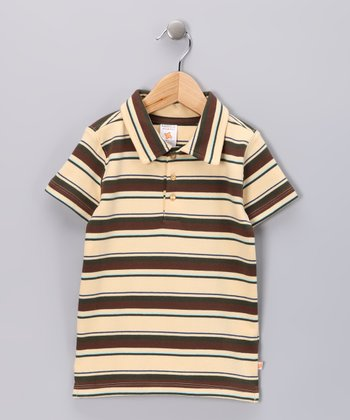 Nosilla Organics Tan Stripe Organic Polo - Infant & Toddler
