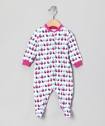 Fuchsia Owl Organic Footie - Infant