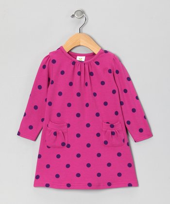 Nosilla Fuchsia Polka Dot Organic Pocket Dress - Infant & Toddler