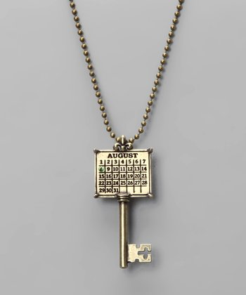Antique Brass 'August' Calendar Key Necklace