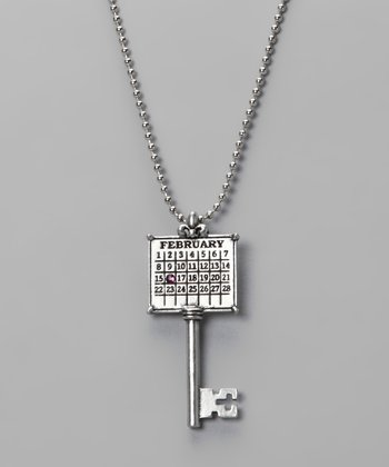 Antique Silver 'February' Calendar Key Necklace