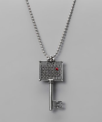 Antique Silver 'July' Calendar Key Necklace