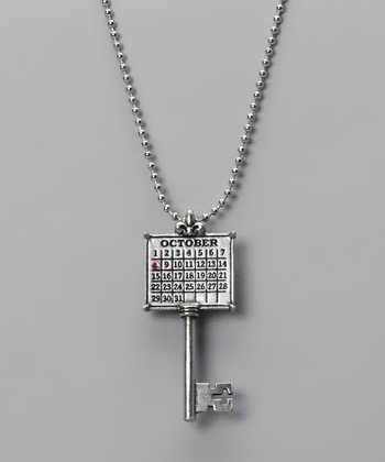 Antique Silver 'October' Calendar Key Necklace