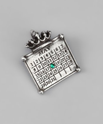 Antique Silver 'May' Calendar Crown Charm