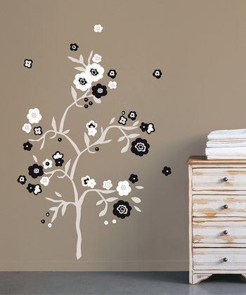 Black & White Flower Wall Decal Set