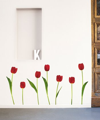 Red Tulip Wall Decal Set