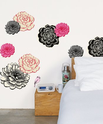 Black Flower Wall Decal Set