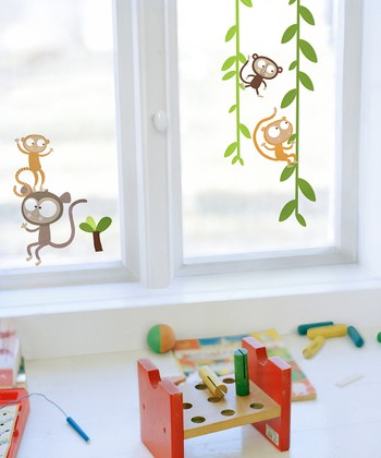 Monkey Window Cling Set