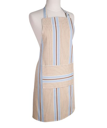 Blue & Brown Cottage Stripe Apron - Women