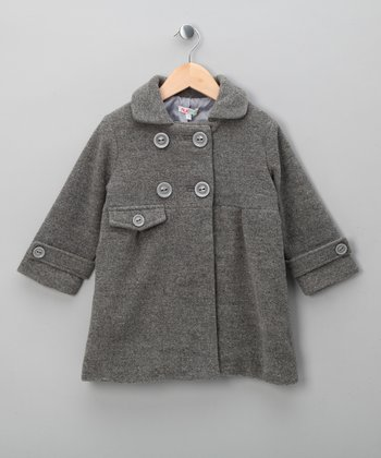 Grey Double-Breasted Coat - Toddler & Girls
