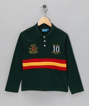 Green Stripe '10' Polo - Toddler & Boys