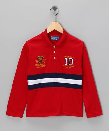 Red Stripe '10' Polo - Toddler & Boys