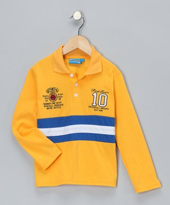Yellow Stripe '10' Polo - Toddler & Boys