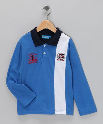 Blue 'Racing Team' Polo - Toddler & Boys