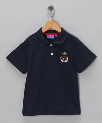 Navy Crest Polo - Toddler & Boys