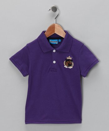 Purple Crest Polo - Toddler & Boys