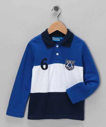 Blue & Navy '6' Polo - Toddler