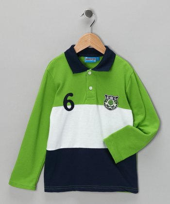 Green & Navy '6' Polo - Toddler