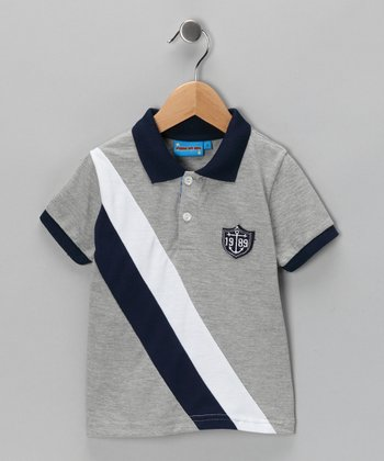 Gray Diagonal Stripe Polo - Toddler & Boys