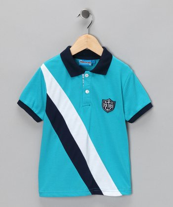 Light Blue Diagonal Stripe Polo - Toddler & Boys
