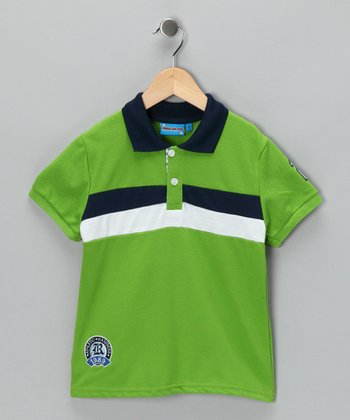 Green & White Stripe Polo - Toddler & Boys