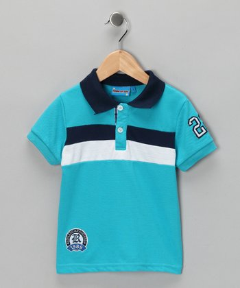 Light Blue & White Stripe Polo - Toddler & Boys