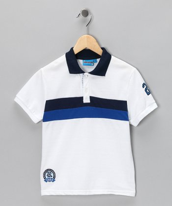 White & Blue Stripe Polo - Toddler & Boys
