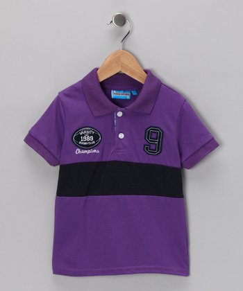 Purple 'Varsity Champions' Polo - Toddler & Boys