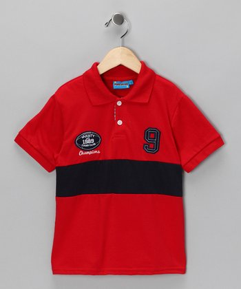 Red 'Varsity Champions' Polo - Toddler & Boys