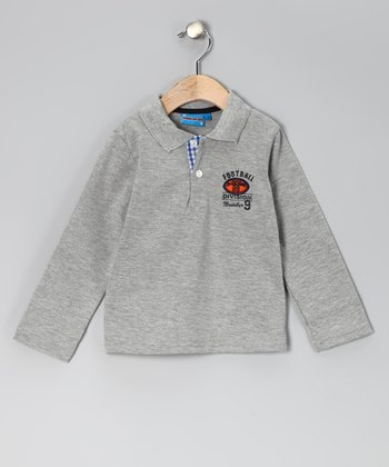 Gray 'Football' Polo - Toddler & Boys