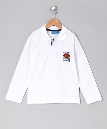 White 'Football' Polo - Toddler & Boys