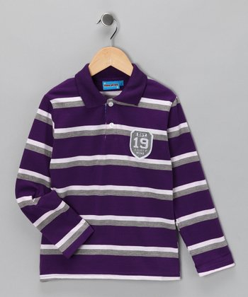 Purple Stripe '19' Polo - Toddler