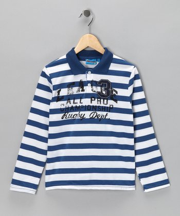 Blue Stripe 'Rugby Dept.' Polo - Toddler & Boys