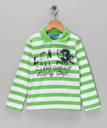 Green Stripe 'Rugby Dept.' Polo - Toddler & Boys