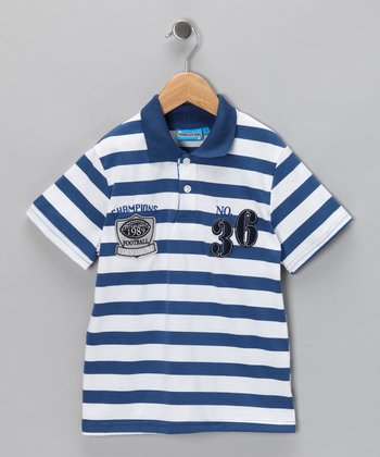 Blue Stripe '36' Polo - Toddler & Boys