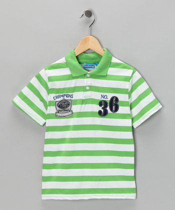 Green Stripe '36' Polo - Toddler & Boys