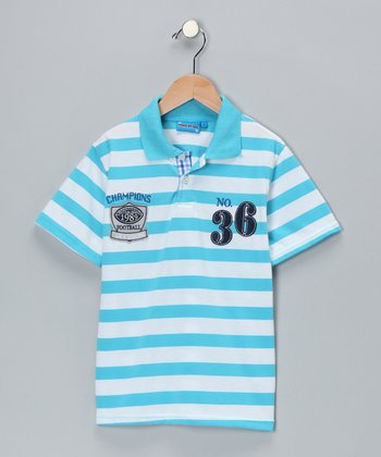 Light Blue Stripe '36' Polo - Toddler & Boys