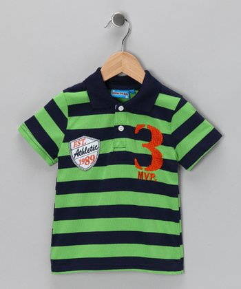 Green Stripe 'MVP' Polo - Toddler & Boys