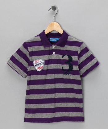 Purple Stripe 'MVP' Polo - Toddler & Boys
