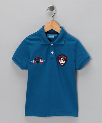Blue 'Defender' Polo - Toddler & Boys