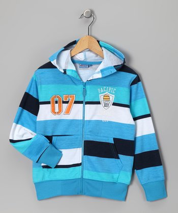 Blue 'Pacific League' Zip-Up Hoodie - Boys