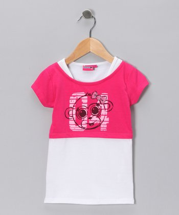 Pink '04' Crop Top & White Camisole - Girls