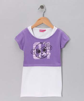 Purple '04' Crop Top & White Camisole - Girls